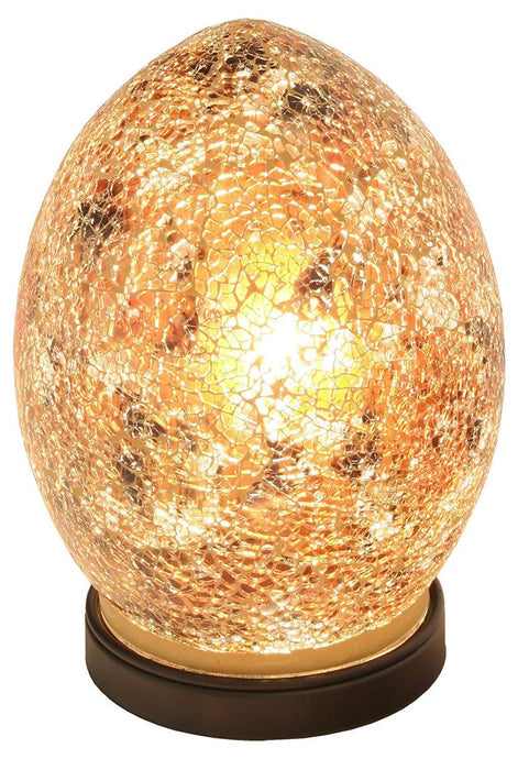 Mosaic Lamp Yellow Gold Crackle Glass Mood Lighting Egg Lamp Golden Finish - VEHome