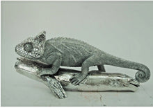 Load image into Gallery viewer, Silver Electroplated Chameleon Lizard on Log Ornate Ornament - VEHome
