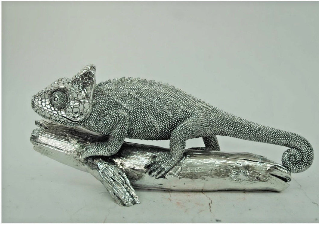 Silver Electroplated Chameleon Lizard on Log Ornate Ornament - VEHome