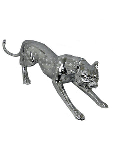Small Or Large Silver Electroplated Leopard Figure Ornate Ornament - VEHome