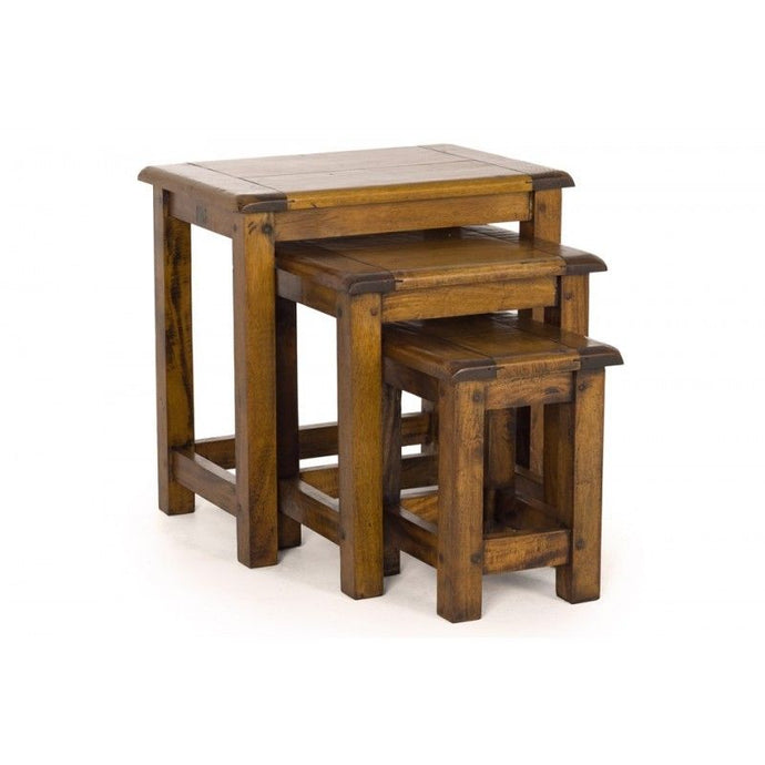 Hardwood East Indies Nest of Tables Solid Mango Wood - VEHome