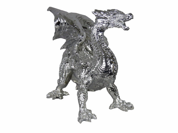 Large Silver Electroplated Dragon Ornate Ornament 35 cm Tall - VEHome