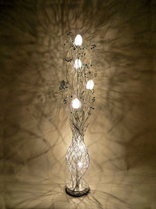 Silver Wire Floor Lamp with Crystal Berries In Green Clear Purple Red Or Black - VEHome