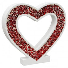 Load image into Gallery viewer, Mosaic Glass Heart Wood Decoration In Red Pink or Mirrored Silver - VEHome