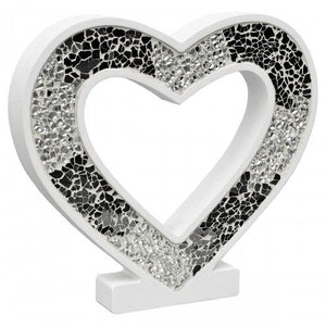 Mosaic Glass Heart Wood Decoration In Red Pink or Mirrored Silver - VEHome