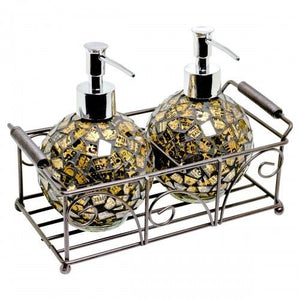 Mosaic Glass Round Soap Dispensers (Set of 2) 2 colours available - VEHome