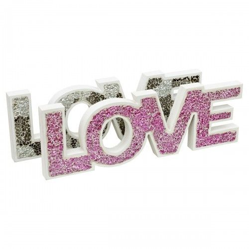 Mosaic Glass Standing Love Letters Wood Decoration In Pink or Mirrored Silver - VEHome