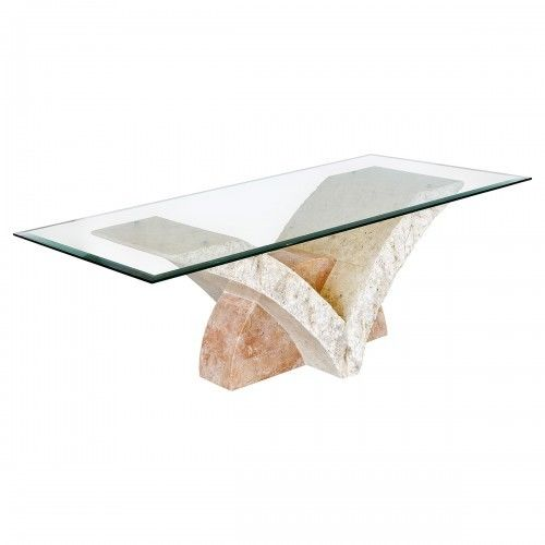 Stone Coffee Table Uranie Mactan Stone Coffee Table With Glass Top - VEHome