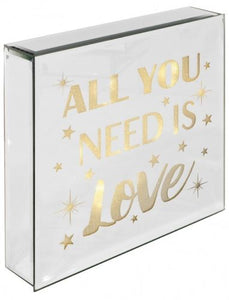 All You Need Is Love - Light Up Mirrored Plaque - VEHome