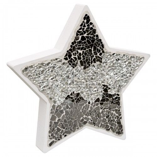 Mosaic Glass Star Wood Decoration In Pink or Mirrored Silver - VEHome