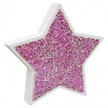 Load image into Gallery viewer, Mosaic Glass Star Wood Decoration In Pink or Mirrored Silver - VEHome