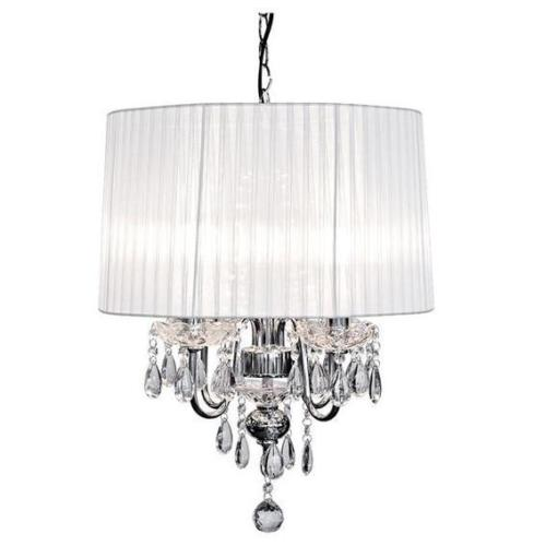 Classical Four Light Chandelier in 6 Shades Chrome Finish with Glass Detailing - VEHome