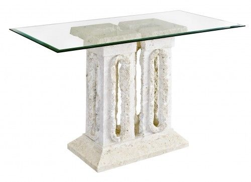 Stone Console Table Beautiful Tower Mactan Stone Console Table With Glass Top - VEHome