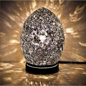 Mosaic Lamp Black Crackle Glass Mood Lighting Egg Lamp Black Finish - VEHome