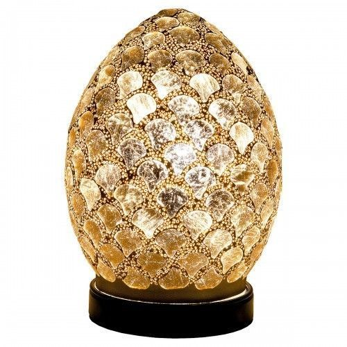 Mosaic Lamp Gold Tile Crackle Glass Mood Lighting Egg Lamp Gold Finish - VEHome