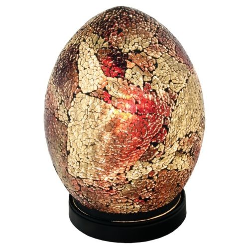 Mosaic Lamp Red and Gold Crackle Glass Mood Lighting Egg Lamp Red Finish - VEHome