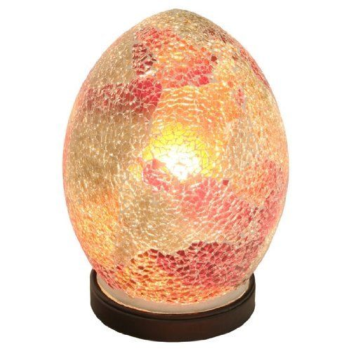 Mosaic Lamp Red Crackle Glass Mood Lighting Egg Lamp Red Finish - VEHome