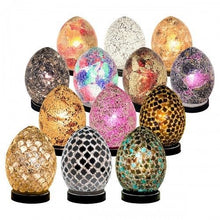 Load image into Gallery viewer, Egg Lamp Mini Mosaic Glass Egg Lamp  Blue Tile Crackle Glass Mood Light - VEHome