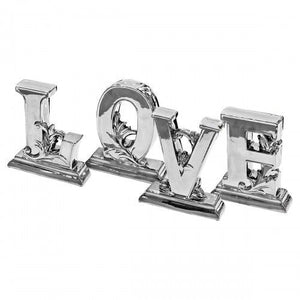 Platinum Fired Ceramic Love Letters Set of 4 Decorative Ornament - VEHome