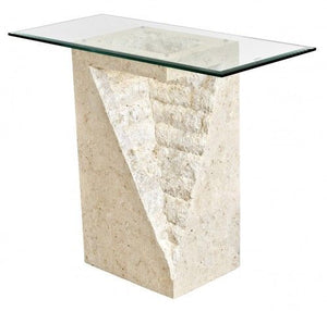 Stone End Pedestal Table Mactan Stone Pedestal Table With Glass Top - VEHome