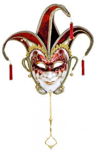 Quirky Jester Wall Hanging Art Masks In Purple Black or Red - VEHome