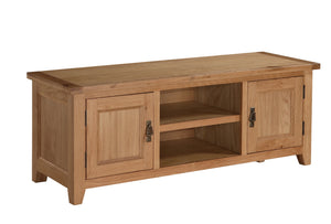 Stirling TV Unit Straight Rectangle Shape Solid Oak With 2 Doors
