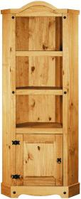 Corona Corner Bookcase Unit Solid Pine Wood