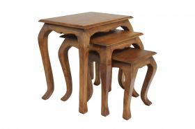 Marseille Nest of Tables Solid Acacia Wood Set of 3 tables