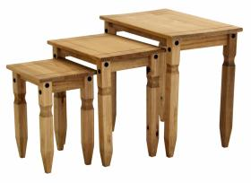 Piccalo Nest of Tables Solid Pine Wood Set of 3 Tables - VEHome