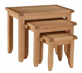 Stirling Nest of Tables Solid Oak Wood