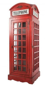Vintage Red Phone Box Display unit Cabinet Solid Mindi Wood