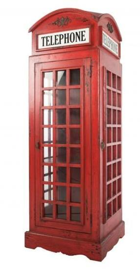 Vintage Red Phone Box Display unit Cabinet Solid Mindi Wood - VEHome