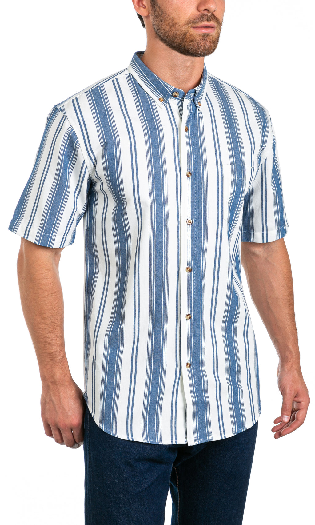 Hudson Vertical Stripe - Short Sleeve Button Front