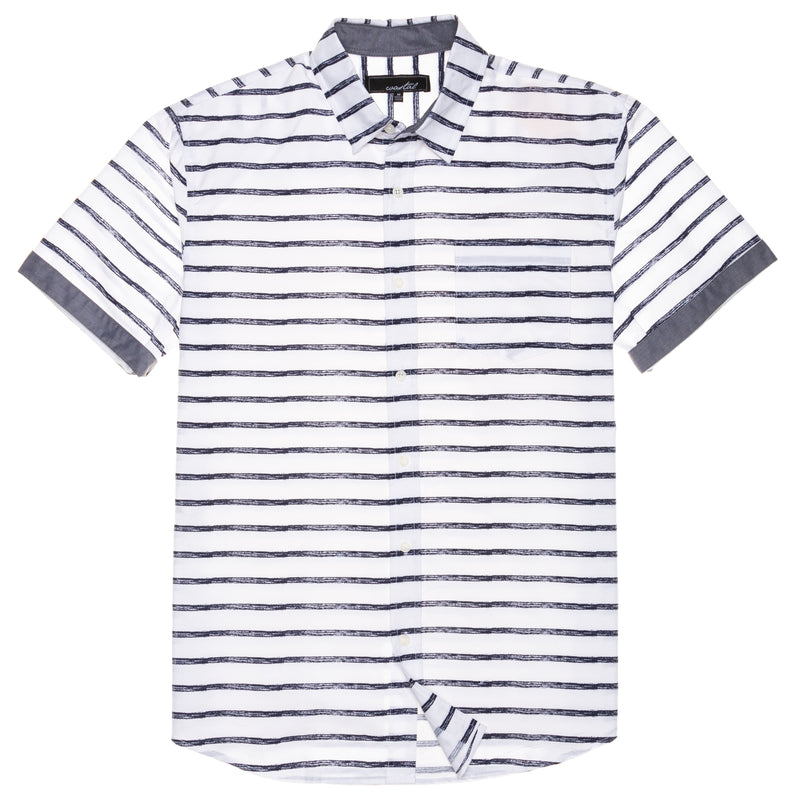 Lennox Men's Short Sleeve Button Front Horizontal Stripe shirt