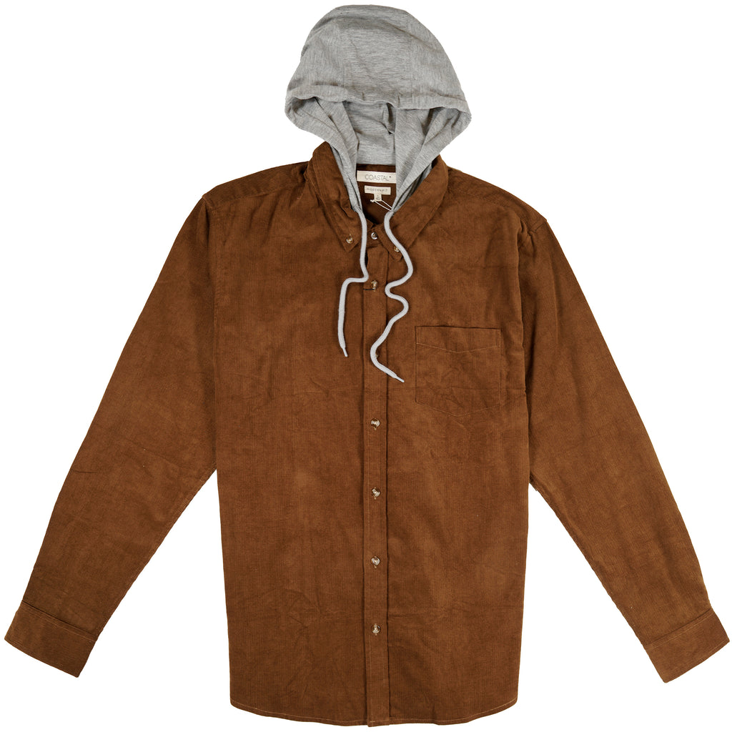 Beaverton Hooded Corduroy Button Front