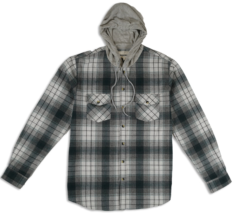 Stagbark hooded button-front flannel