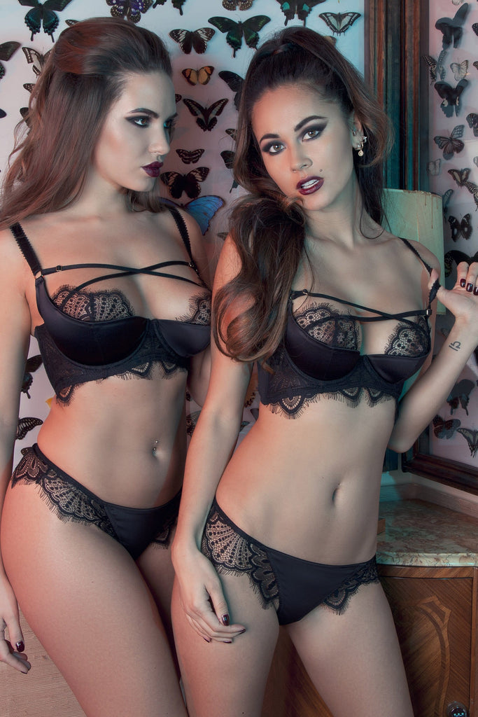 Zora Satin & Spitzen Push Up BH E-J Cups