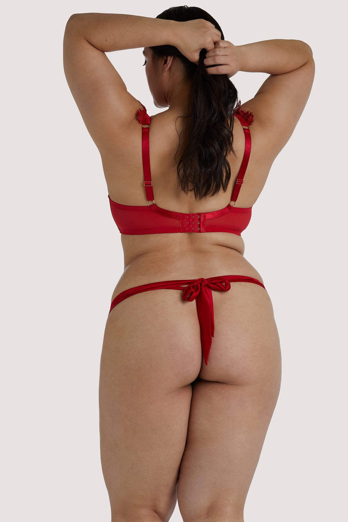 Playful Promises Anneliese Roter Satin Netz and Spitzen Tanga Curve
