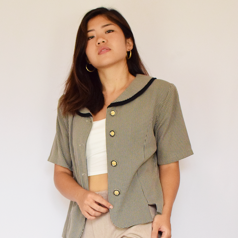 vintage Peter Pan button up with shoulder pads