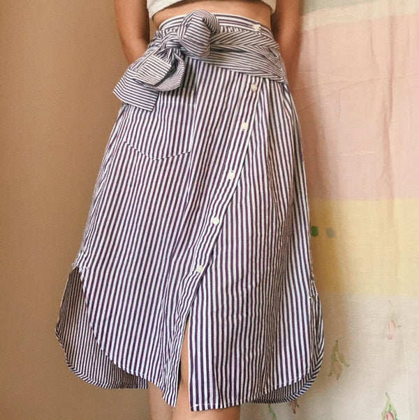 Korean Stripe Asymmetric Skirt