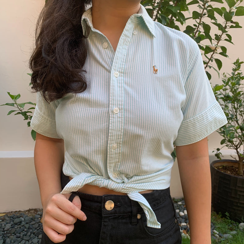 Ralph Lauren Collared Blouse in Green stripes