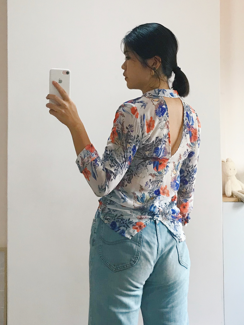 Floral Shirt with open back