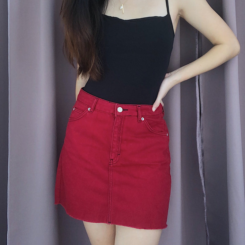 Topshop Red Denim Skirt