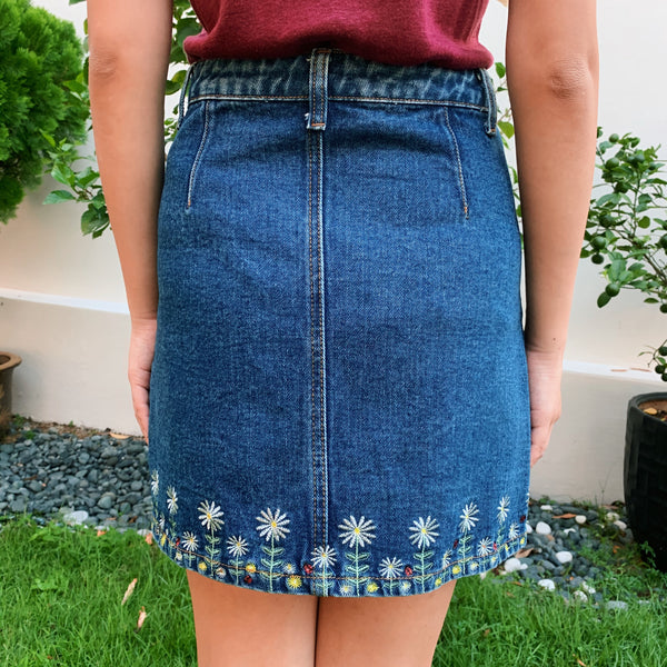 Something Borrowed Dark Denim Embroidery Skirt