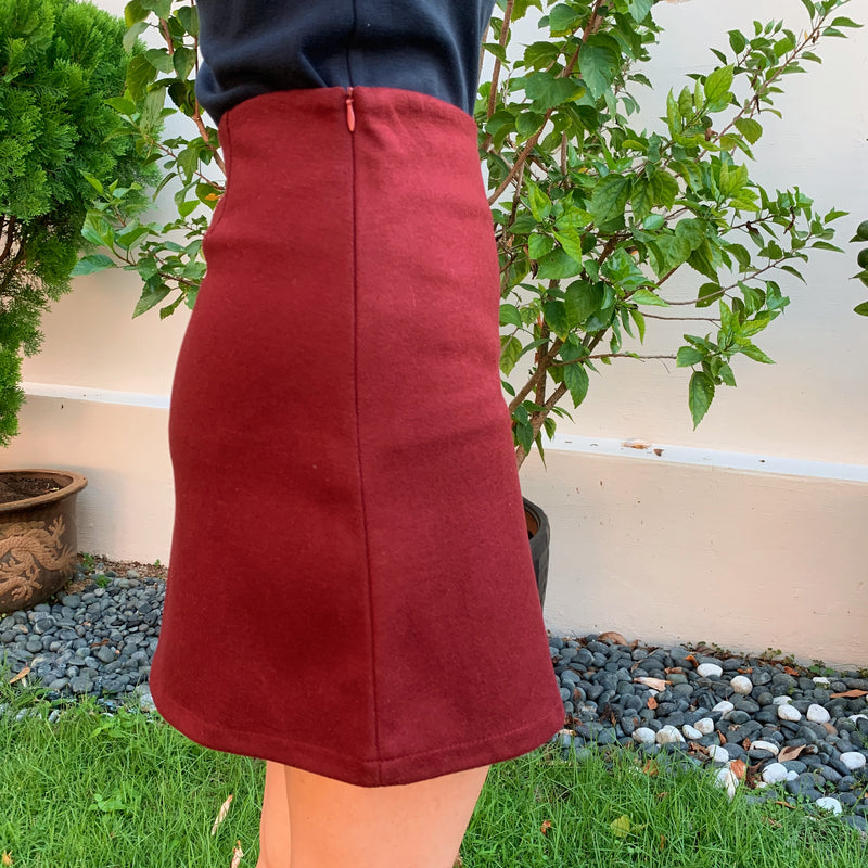 Wine Red A-line Skirt