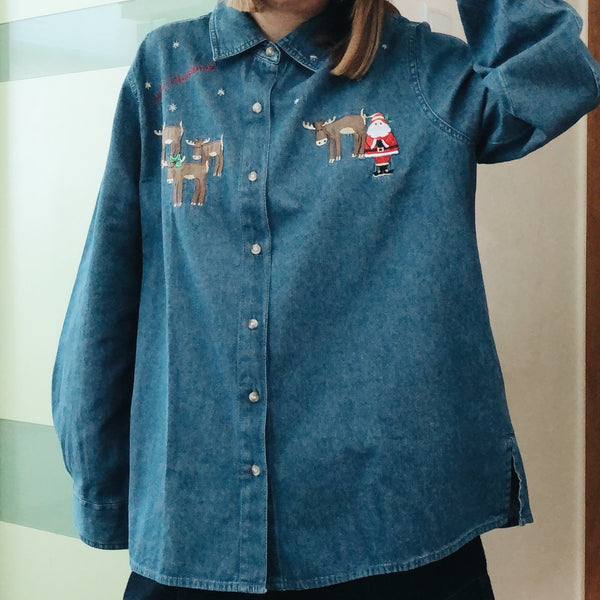 Christmas Came Early (Denim Embroidery Vintage Shirt)