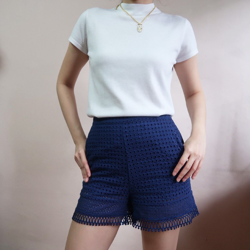 Warehouse blue eyelet shorts