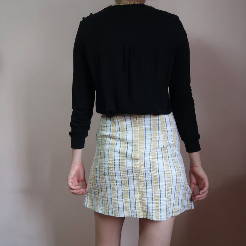 Mango yellow striped skirt