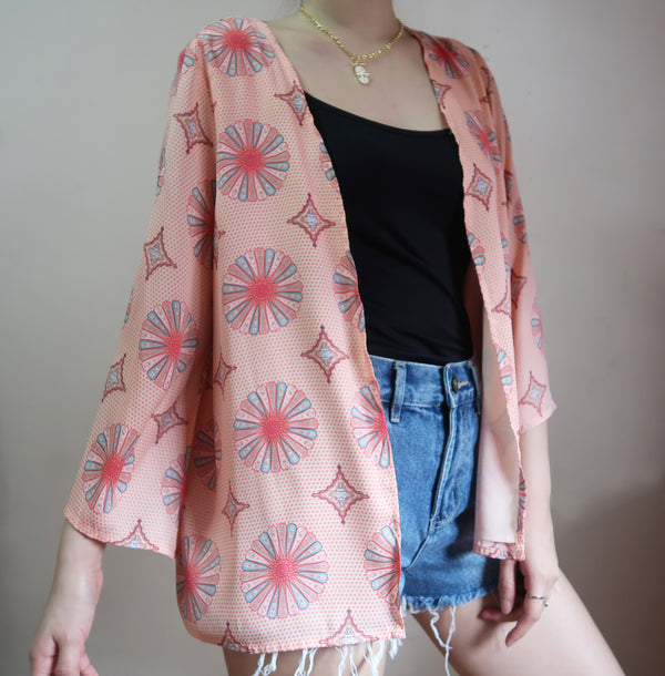 Forever 21 pink patterned kimono