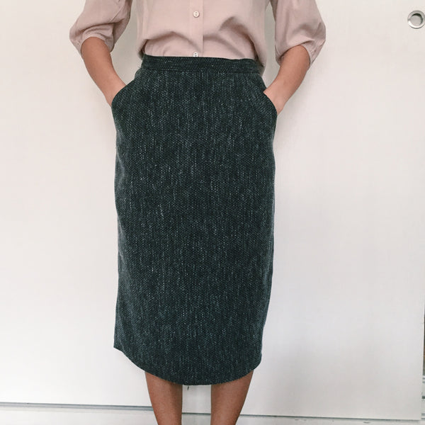 Grey Tweed Midi Skirt